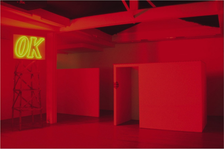 OK, 2002, neon and wood, Madhouse (No Copper Roof/Pure White Spirit), 2002, wood, paint, apparatus for distilling alcohol, newspaper